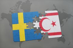 Puzzle with the national flag of sweden and northern cyprus on a world map background. 3D illustration Royalty Free Stock Photo