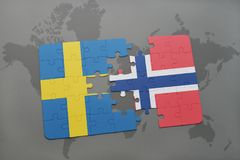 Puzzle with the national flag of sweden and norway on a world map background. vector illustration