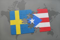 Puzzle with the national flag of sweden and puerto rico on a world map background. Royalty Free Stock Photos
