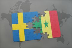 Puzzle with the national flag of sweden and senegal on a world map background. Stock Photography