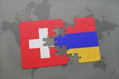 Puzzle with the national flag of switzerland and armenia on a world map background. Stock Images