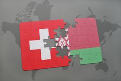 puzzle with the national flag of switzerland and belarus on a world map background. Stock Photos