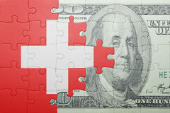 Puzzle with the national flag of switzerland and dollar banknote. Concept stock illustration