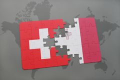 Puzzle with the national flag of switzerland and malta on a world map background. Stock Photo