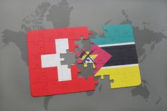 Puzzle with the national flag of switzerland and mozambique on a world map background. 3D illustration Stock Images