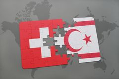 Puzzle with the national flag of switzerland and northern cyprus on a world map background. 3D illustration Stock Photos