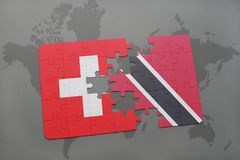 Puzzle with the national flag of switzerland and trinidad and tobago on a world map background. 3D illustration Stock Photography