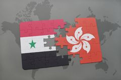 Puzzle with the national flag of syria and hong kong on a world map background. 3D illustration Royalty Free Stock Photos