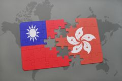 Puzzle with the national flag of taiwan and hong kong on a world map background. 3D illustration Stock Images