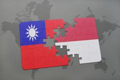 Puzzle with the national flag of taiwan and indonesia on a world map background. 3D illustration Royalty Free Stock Images