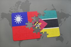 Puzzle with the national flag of taiwan and mozambique on a world map Royalty Free Stock Image