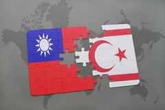 Puzzle with the national flag of taiwan and northern cyprus on a world map background. Royalty Free Stock Photos