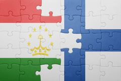 Puzzle with the national flag of tajikistan and finland Royalty Free Stock Photos