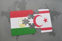 Puzzle with the national flag of tajikistan and northern cyprus on a world map background. Stock Photography