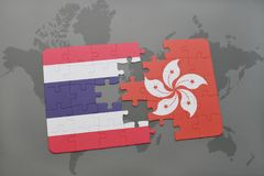 Puzzle with the national flag of thailand and hong kong on a world map background. 3D illustration Royalty Free Stock Photo