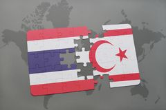 Puzzle with the national flag of thailand and northern cyprus on a world map background. Royalty Free Stock Photos