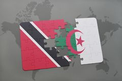 Puzzle with the national flag of trinidad and tobago and algeria on a world map. Background. 3D illustration Stock Photo