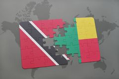 Puzzle with the national flag of trinidad and tobago and benin on a world map. Background. 3D illustration Stock Photography