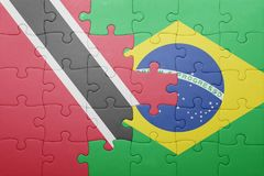 Puzzle with the national flag of trinidad and tobago and brazil Stock Photography