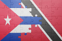 Puzzle with the national flag of trinidad and tobago and cuba Royalty Free Stock Photo
