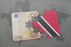 Puzzle with the national flag of trinidad and tobago and euro banknote on a world map background. 3D illustration Royalty Free Stock Photo