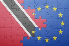 Puzzle with the national flag of trinidad and tobago and european union Royalty Free Stock Images