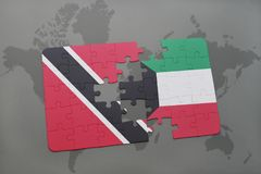 Puzzle with the national flag of trinidad and tobago and kuwait on a world map. Background. 3D illustration Stock Images
