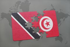 Puzzle with the national flag of trinidad and tobago and tunisia on a world map. Background. 3D illustration Stock Image