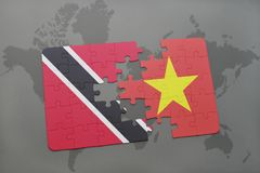 Puzzle with the national flag of trinidad and tobago and vietnam on a world map. Background. 3D illustration Royalty Free Stock Photography
