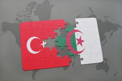 Puzzle with the national flag of turkey and algeria on a world map. Background. 3D illustration royalty free stock photography