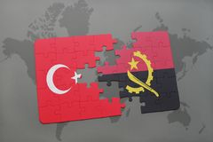 Puzzle with the national flag of turkey and angola on a world map. Background. 3D illustration royalty free stock image