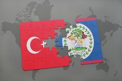 Puzzle with the national flag of turkey and belize on a world map. Background. 3D illustration royalty free stock photography