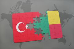 Puzzle with the national flag of turkey and benin on a world map. Background. 3D illustration royalty free stock photography