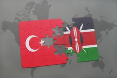 Puzzle with the national flag of turkey and kenya on a world map. Background. 3D illustration stock images
