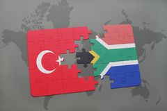 Puzzle with the national flag of turkey and south africa on a world map. Background. 3D illustration stock image