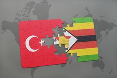 Puzzle with the national flag of turkey and zimbabwe on a world map. Background. 3D illustration stock photography
