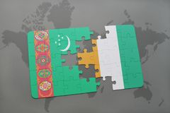 Puzzle with the national flag of turkmenistan and cote divoire on a world map. Background. 3D illustration Stock Image