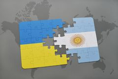 Puzzle with the national flag of ukraine and argentina on a world map Royalty Free Stock Photos