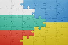 puzzle with the national flag of ukraine and bulgaria Stock Images