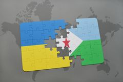 Puzzle with the national flag of ukraine and djibouti on a world map Royalty Free Stock Images