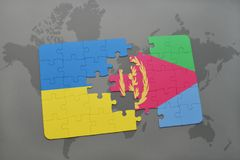 puzzle with the national flag of ukraine and eritrea on a world map Stock Photography