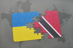 Puzzle with the national flag of ukraine and trinidad and tobago on a world map. Background. 3D illustration Stock Images