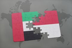 puzzle with the national flag of united arab emirates and indonesia on a world map background. royalty free illustration