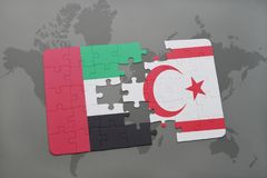 Puzzle with the national flag of united arab emirates and northern cyprus on a world map background. Stock Photos