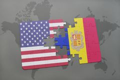 Puzzle with the national flag of united states of america and andorra on a world map background. Concept Stock Photos