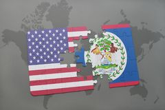 Puzzle with the national flag of united states of america and belize on a world map background. Concept Stock Photography