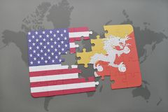 Puzzle with the national flag of united states of america and bhutan on a world map background. Concept Stock Photos