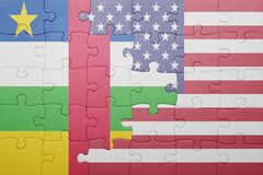 Puzzle with the national flag of united states of america and central african republic Stock Photo