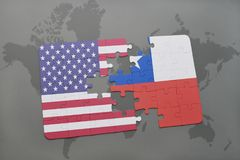 Puzzle with the national flag of united states of america and chile on a world map background. Concept Stock Photo