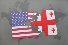 Usa Flag Jigsaw Puzzle Stock Photos Images Pictures Images - Us map georgia puzzle
